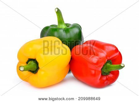 yellowredgreen sweet bell pepper or capsicum isolated on white background
