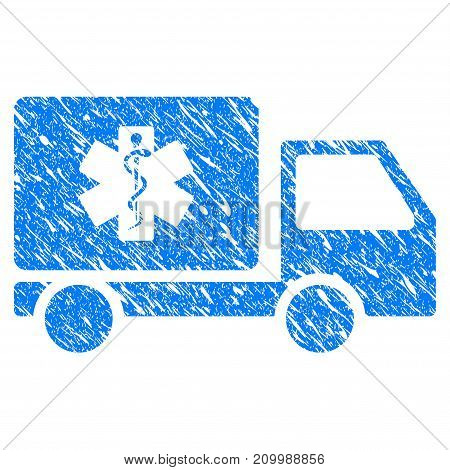 Grunge Medical Delivery icon with scratched design and unclean texture. Unclean vector blue Medical Delivery pictogram for rubber seal stamp imitations and watermarks. Draft sticker symbol.