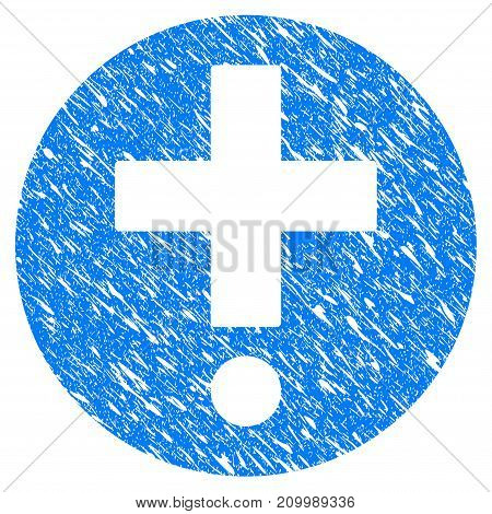 Grunge Medical Pharmacy icon with scratched design and grungy texture. Unclean vector blue Medical Pharmacy pictogram for rubber seal stamp imitations and watermarks. Draft sign symbol.