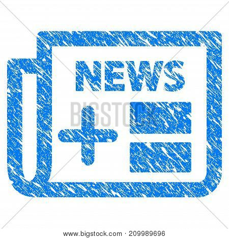 Grunge Medicine Newspaper icon with scratched design and grungy texture. Unclean vector blue Medicine Newspaper pictogram for rubber seal stamp imitations and watermarks. Draft sticker symbol.