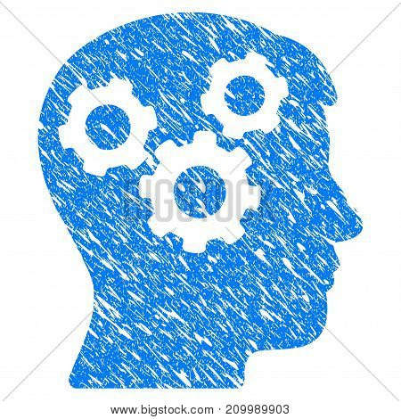 Grunge Mind Gears icon with scratched design and dust texture. Unclean vector blue Mind Gears pictogram for rubber seal stamp imitations and watermarks. Draft sticker symbol.