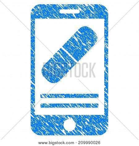 Grunge Mobile Drugstore icon with scratched design and dust texture. Unclean vector blue Mobile Drugstore pictogram for rubber seal stamp imitations and watermarks. Draft emblem symbol.
