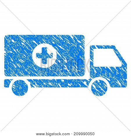 Grunge Mobile Hospital Automobile icon with scratched design and dust texture. Unclean vector blue Mobile Hospital Automobile pictogram for rubber seal stamp imitations and watermarks.