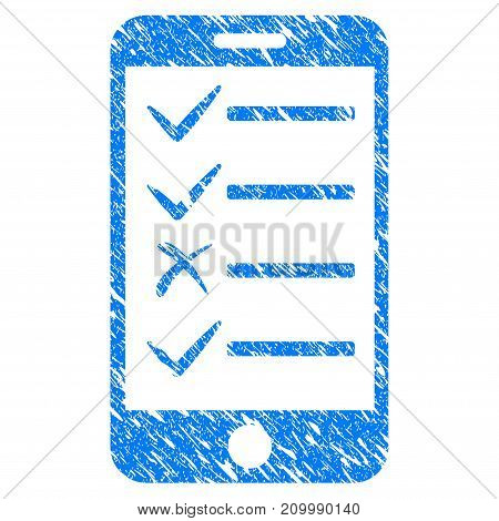 Grunge Mobile Todo List icon with scratched design and dirty texture. Unclean vector blue Mobile Todo List pictogram for rubber seal stamp imitations and watermarks. Draft sign symbol.