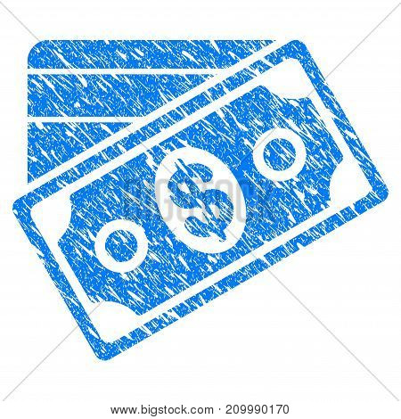 Grunge Money icon with scratched design and scratched texture. Unclean vector blue Money pictogram for rubber seal stamp imitations and watermarks. Draft sticker symbol.