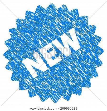 Grunge New Sticker icon with scratched design and unclean texture. Unclean vector blue New Sticker pictogram for rubber seal stamp imitations and watermarks. Draft emblem symbol.