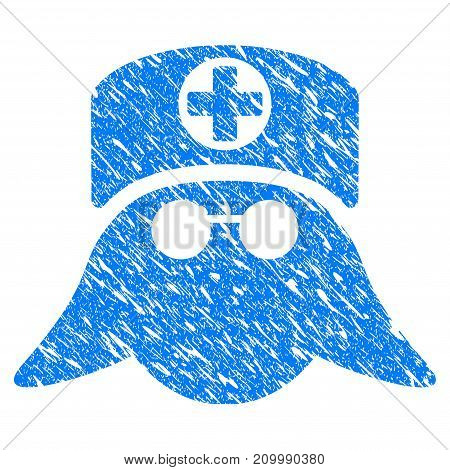 Grunge Nurse Head icon with scratched design and unclean texture. Unclean vector blue Nurse Head pictogram for rubber seal stamp imitations and watermarks. Draft emblem symbol.
