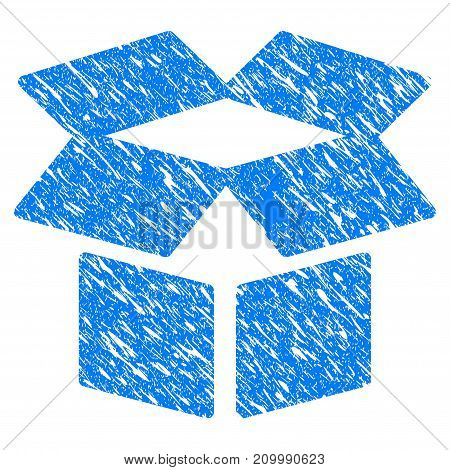 Grunge Open Box icon with scratched design and scratched texture. Unclean vector blue Open Box pictogram for rubber seal stamp imitations and watermarks. Draft emblem symbol.