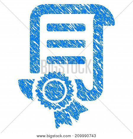 Grunge Patent icon with scratched design and dirty texture. Unclean vector blue Patent pictogram for rubber seal stamp imitations and watermarks. Draft sign symbol.