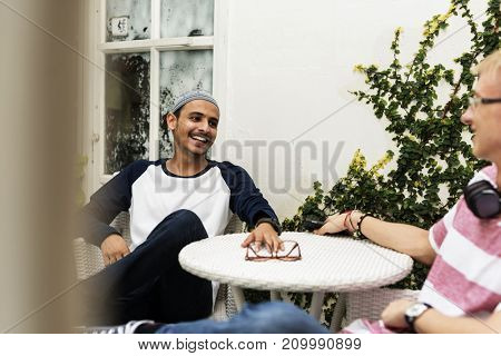 Teenagers talking together