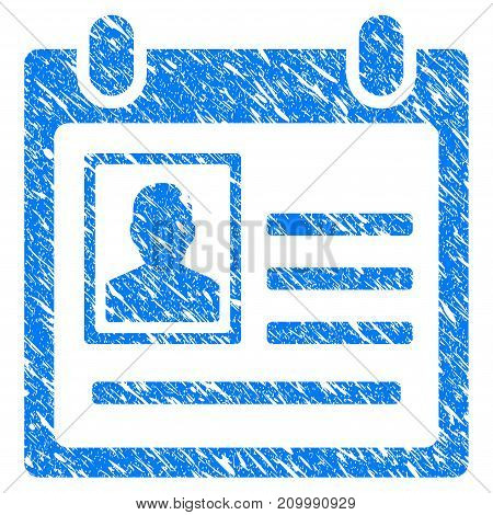 Grunge Person Cardfile icon with scratched design and unclean texture. Unclean vector blue Person Cardfile pictogram for rubber seal stamp imitations and watermarks. Draft sign symbol.