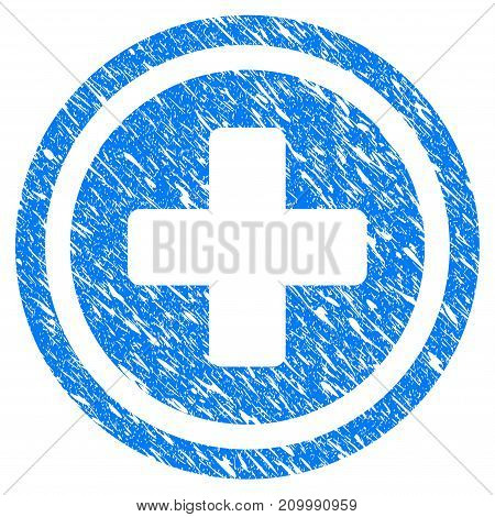 Grunge Pharmacy Cross icon with scratched design and dust texture. Unclean vector blue Pharmacy Cross pictogram for rubber seal stamp imitations and watermarks. Draft emblem symbol.