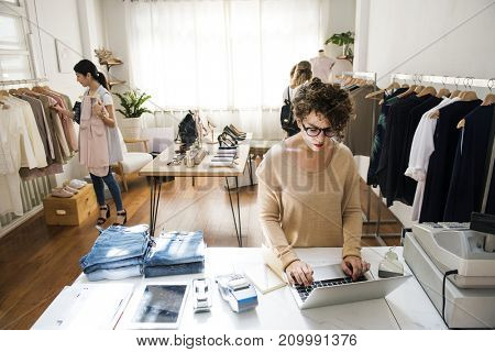 Customers checking out the shop