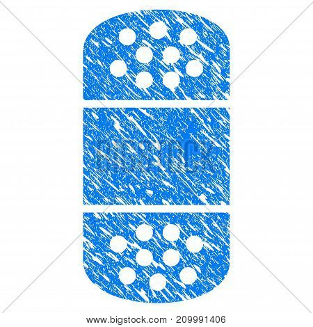 Grunge Plaster icon with scratched design and scratched texture. Unclean vector blue Plaster pictogram for rubber seal stamp imitations and watermarks. Draft sign symbol.