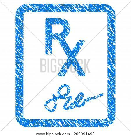 Grunge Prescription Page icon with scratched design and unclean texture. Unclean vector blue Prescription Page pictogram for rubber seal stamp imitations and watermarks. Draft sign symbol.