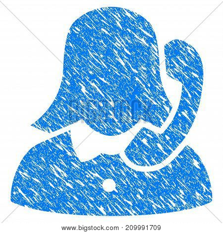 Grunge Reception Girl icon with scratched design and dust texture. Unclean vector blue Reception Girl pictogram for rubber seal stamp imitations and watermarks. Draft sticker symbol.