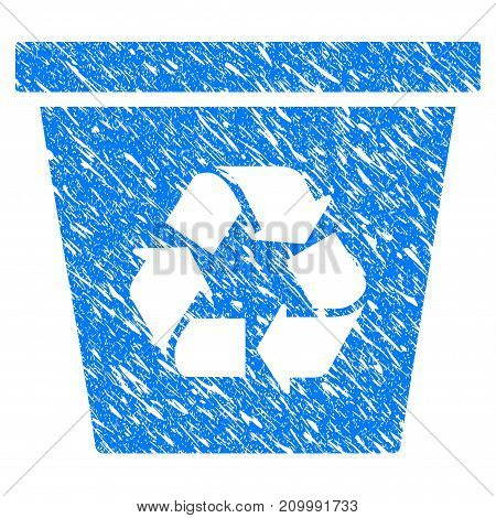 Grunge Recycle Bin icon with scratched design and scratched texture. Unclean vector blue Recycle Bin pictogram for rubber seal stamp imitations and watermarks. Draft sign symbol.