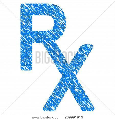 Grunge Rx Medical Symbol icon with scratched design and dust texture. Unclean vector blue Rx Medical Symbol pictogram for rubber seal stamp imitations and watermarks. Draft sticker symbol.
