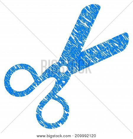 Grunge Scissors icon with scratched design and grungy texture. Unclean vector blue Scissors pictogram for rubber seal stamp imitations and watermarks. Draft sticker symbol.
