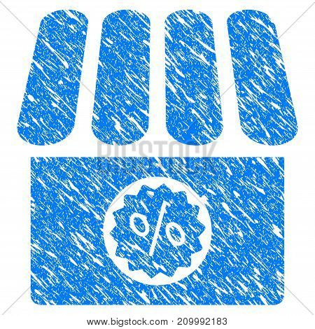 Grunge Shop Sale icon with scratched design and unclean texture. Unclean vector blue Shop Sale pictogram for rubber seal stamp imitations and watermarks. Draft sign symbol.