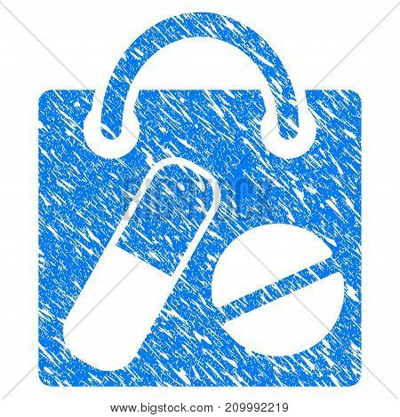 Grunge Shopping Bag icon with scratched design and scratched texture. Unclean vector blue Shopping Bag pictogram for rubber seal stamp imitations and watermarks. Draft sign symbol.