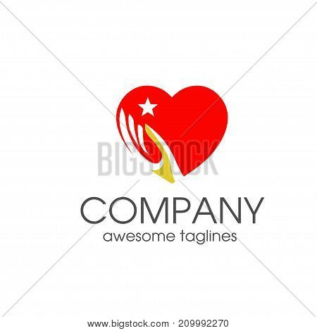 creative elegant concept of Heart love and hand symbol logo template