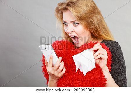 Shocked Heartbroken Woman Looking At Her Phone