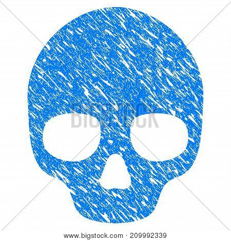 Grunge Skull icon with scratched design and dirty texture. Unclean vector blue Skull pictogram for rubber seal stamp imitations and watermarks. Draft emblem symbol.