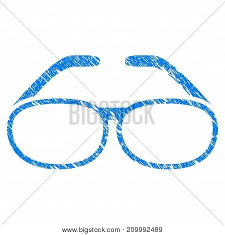 Grunge Spectacles icon with scratched design and dirty texture. Unclean vector blue Spectacles pictogram for rubber seal stamp imitations and watermarks. Draft sign symbol.