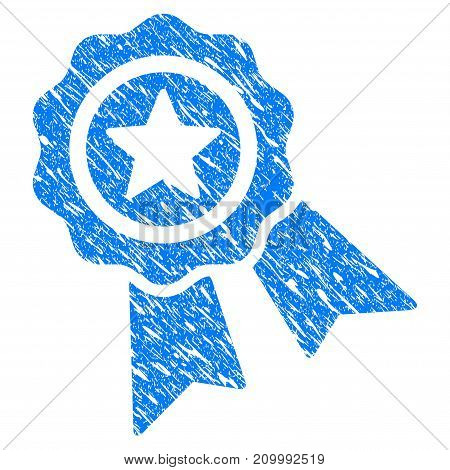 Grunge Star Quality Seal icon with scratched design and dirty texture. Unclean vector blue Star Quality Seal pictogram for rubber seal stamp imitations and watermarks. Draft sticker symbol.
