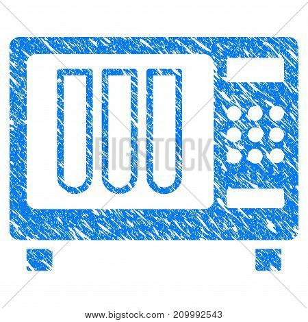 Grunge Sterilizer icon with scratched design and grungy texture. Unclean vector blue Sterilizer pictogram for rubber seal stamp imitations and watermarks. Draft sticker symbol.
