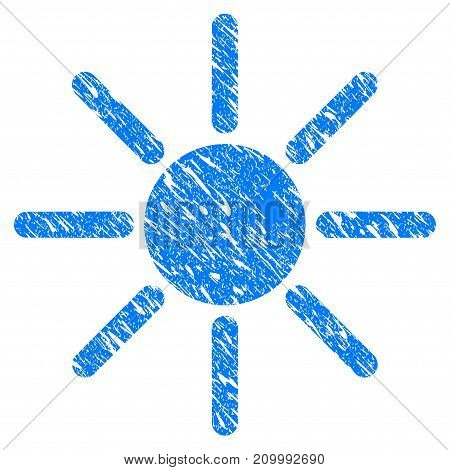 Grunge Sun icon with scratched design and dust texture. Unclean vector blue Sun pictogram for rubber seal stamp imitations and watermarks. Draft emblem symbol.