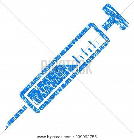 Grunge Syringe icon with scratched design and dirty texture. Unclean vector blue Syringe pictogram for rubber seal stamp imitations and watermarks. Draft sign symbol.