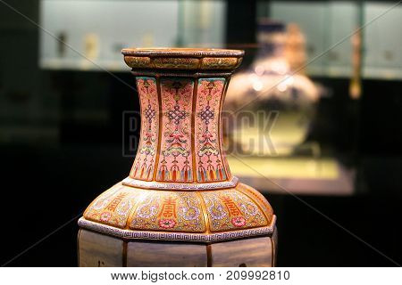 A display of ancient pottery at the Shanghai Museum.