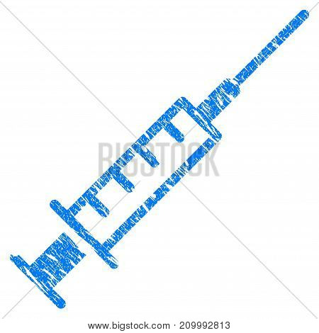 Grunge Syringe icon with scratched design and grungy texture. Unclean vector blue Syringe pictogram for rubber seal stamp imitations and watermarks. Draft sign symbol.