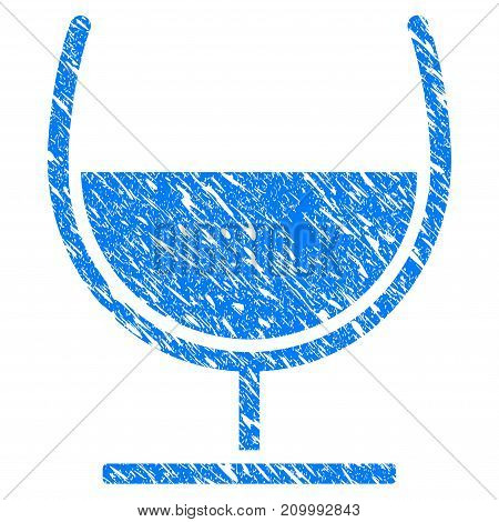 Grunge Syrup Glass icon with scratched design and dirty texture. Unclean vector blue Syrup Glass pictogram for rubber seal stamp imitations and watermarks. Draft sign symbol.