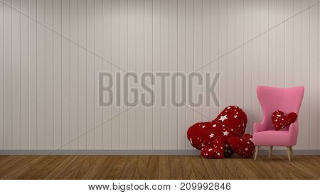 Interior decoration room 3D rendering living room decoration pink armchair color valentine heart pillow in living room empty