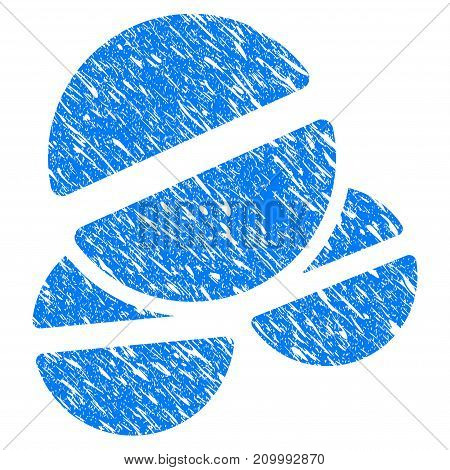 Grunge Tablets icon with scratched design and grungy texture. Unclean vector blue Tablets pictogram for rubber seal stamp imitations and watermarks. Draft sticker symbol.