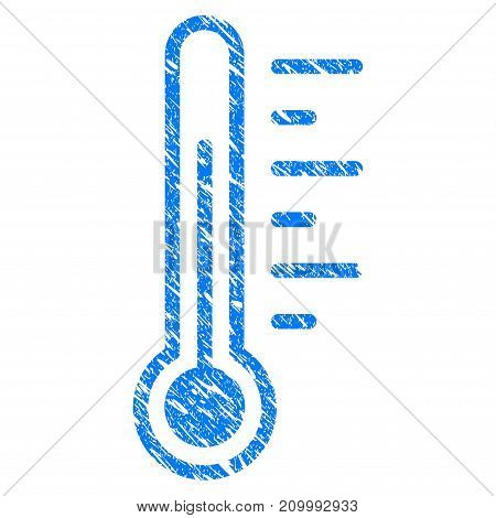 Grunge Temperature icon with scratched design and dirty texture. Unclean vector blue Temperature pictogram for rubber seal stamp imitations and watermarks. Draft emblem symbol.