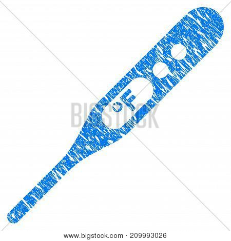 Grunge Thermometer Fahrenheit icon with scratched design and dust texture. Unclean vector blue Thermometer Fahrenheit pictogram for rubber seal stamp imitations and watermarks. Draft sign symbol.
