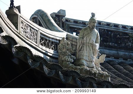 Yuyuan Garden pavilions in Shanghai showing the roof detail and decoration.