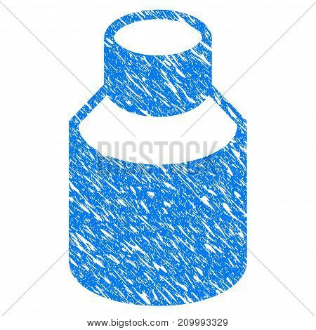 Grunge Vial icon with scratched design and dirty texture. Unclean vector blue Vial pictogram for rubber seal stamp imitations and watermarks. Draft sticker symbol.