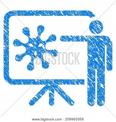 Grunge Virus Presentation Board icon with scratched design and unclean texture. Unclean vector blue Virus Presentation Board pictogram for rubber seal stamp imitations and watermarks.