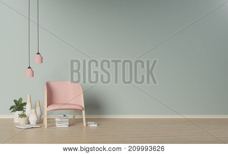 Modern Living room,interior  background,ornamental plants on empty wall,3D rendering