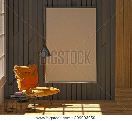 mock up Black wall furniture armchair interior decoration picture frame 3d rendering 3d illustration