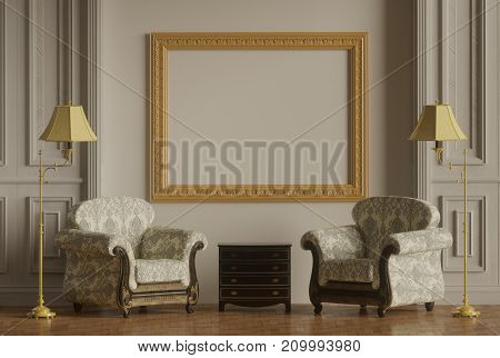 Classic furniture Golden photo frame,Classic wall  3D-rendering classic armchair ,