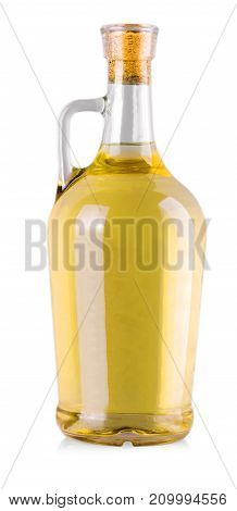 bottle with white wine in a white background