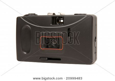 Frontside of a disposable camera isolated on white background. poster