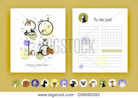 Cover and template planner with breeds of dogs. Dog is a symbol of 2018. Organizer and Schedule with Notes and To Do List. Vector. Isolated