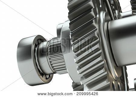 Large cog wheels in the motor. 3d illustration on white